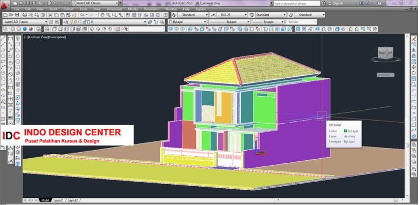 Hasil Kursus CAD 2D & 3D Pak Rudi Cibaduyut Bandung Jawa Barat