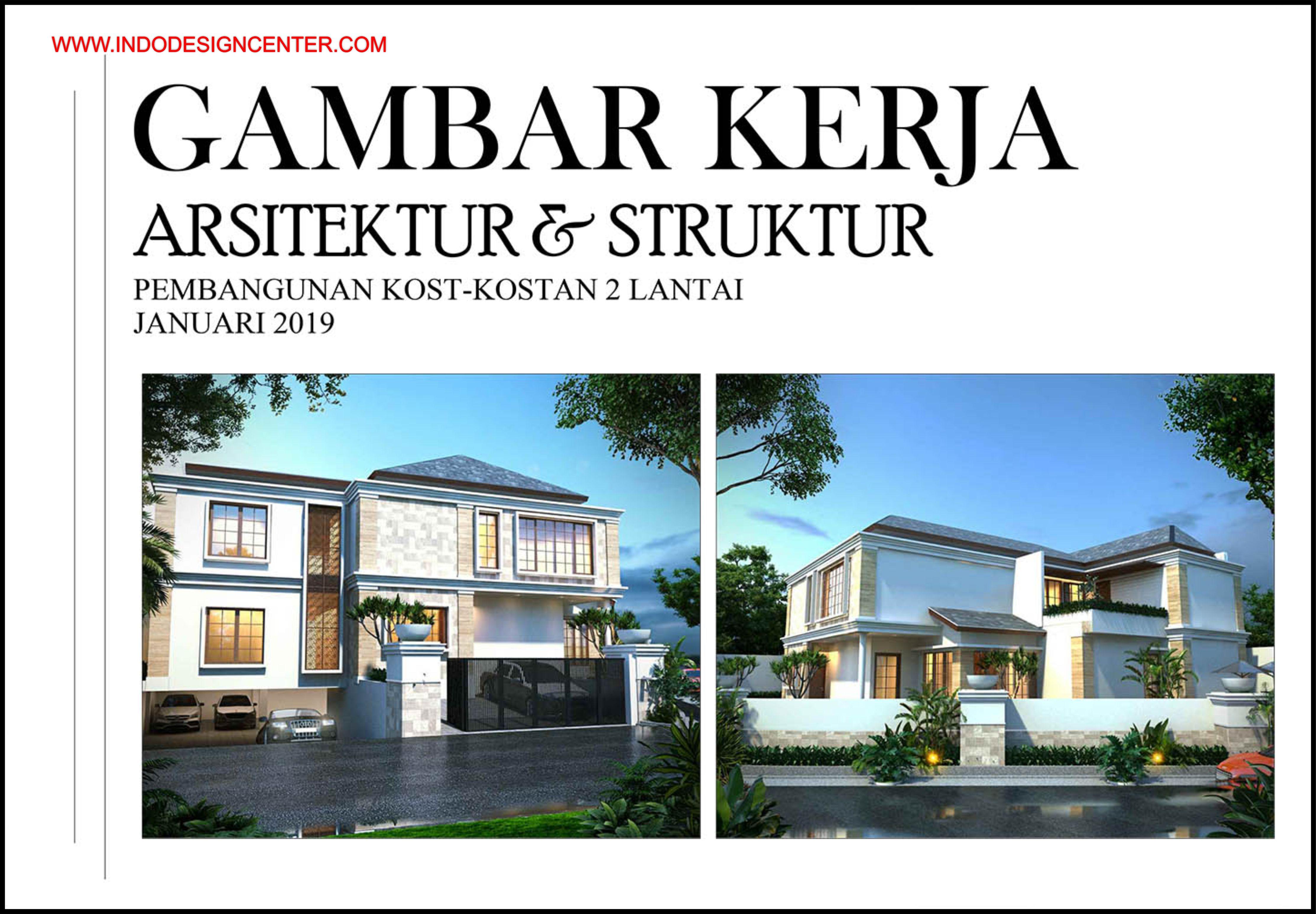 Gambar Kerja Rumah Kosan Autocad Dwg Minimalis 2 Lantai Pak Viat Yogyakarta