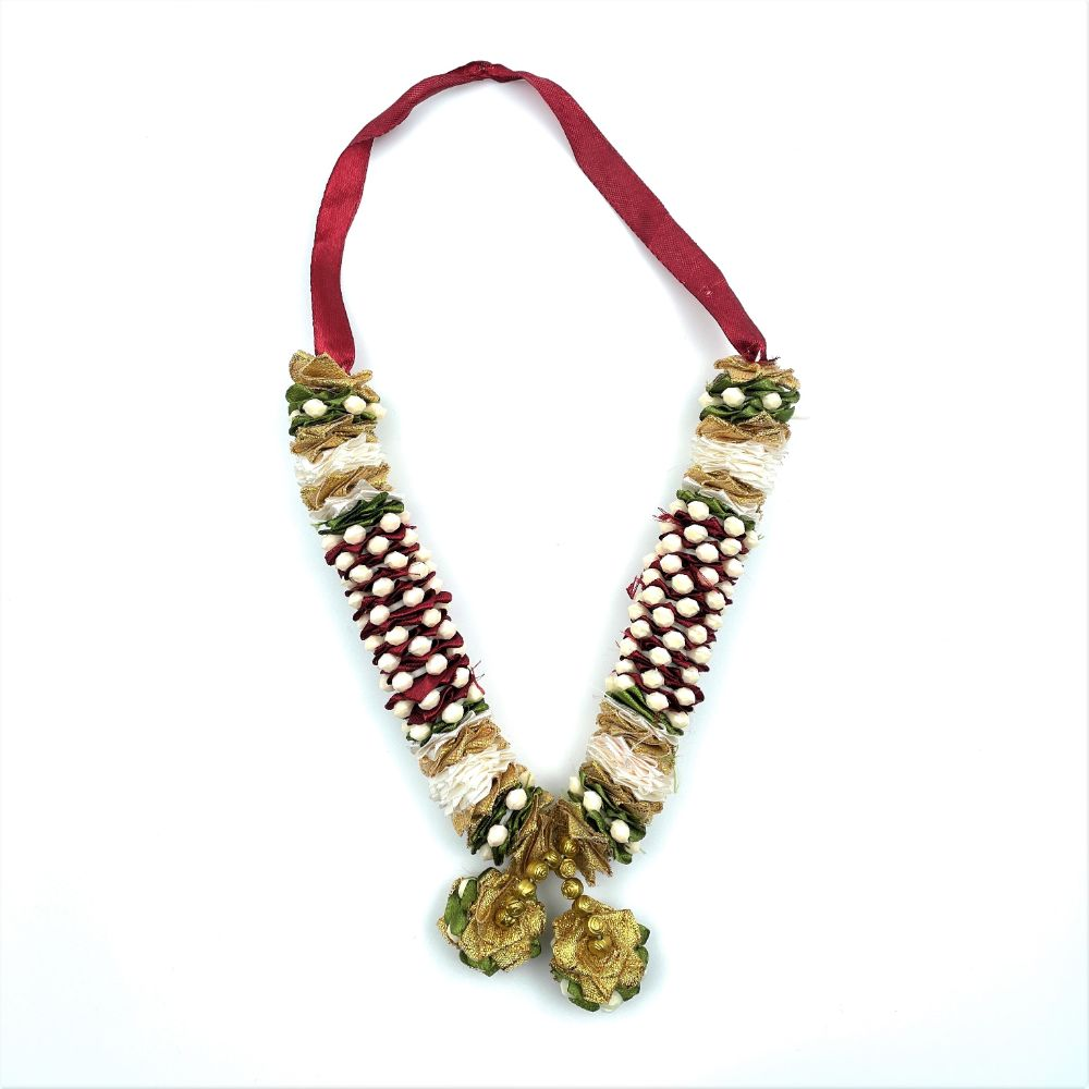Red White & Gold Garland (Mala) - 20cm