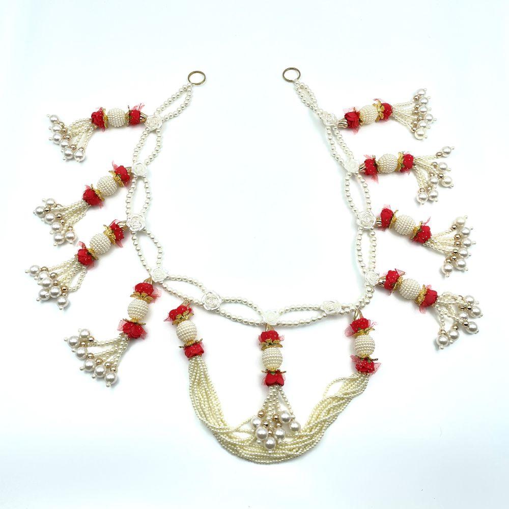 """White Beads & Red Flowers Toran - 36"""""""
