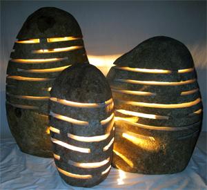 outdoor landscape rock lighting