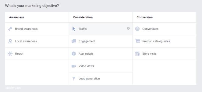 Memilih type iklan facebook