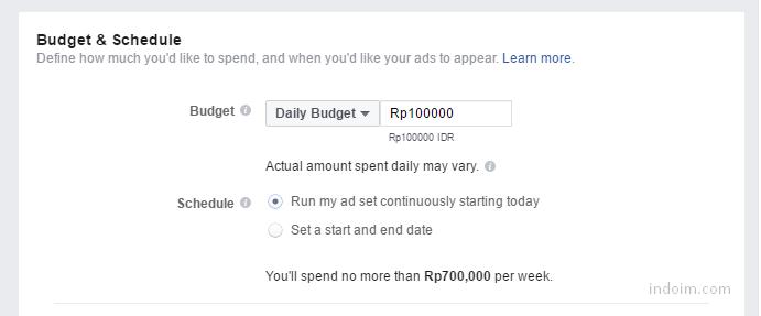 Atur Anggaran iklan Facebook Ads