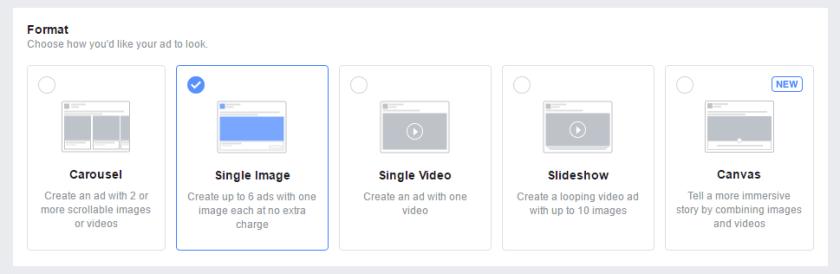 Pilih Format iklan Fb ads