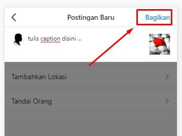 Tulis caption & klik Bagikan