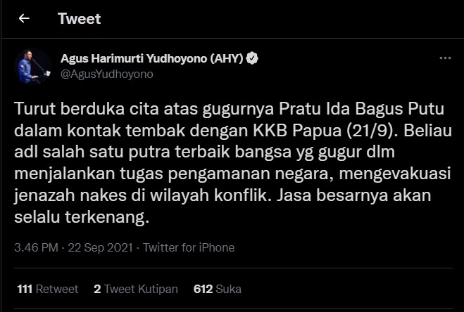 AHY Ucapkan Belasungkawa Gugurnya Prajurit TNI Pratu Ida Bagus Putu