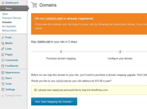 Wordpress.com Domain Mapping