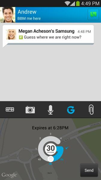 new bbm location sharing