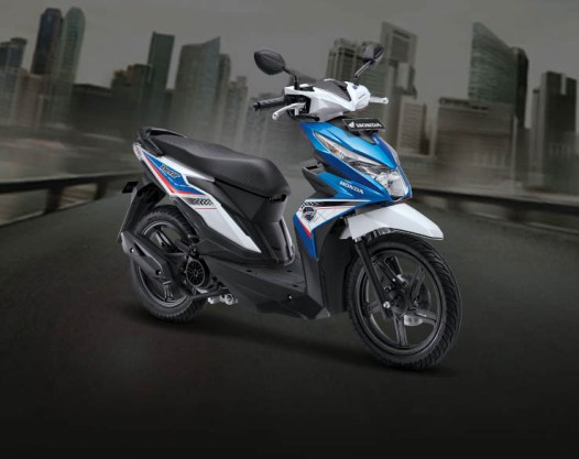 Honda Beat warna Tecno blue white