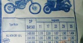Harga Kredit Honda CRF150L Wilayah Kabupaten Bogor