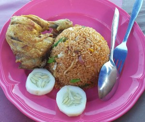 Indonesian fried rice with chicken