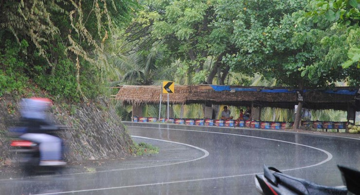 driving in the rain in lombok