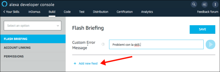 Alexa Flash Briefing - step 2