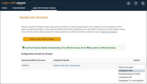 Amazon Developer Console - Web Settings Prosecurity thread