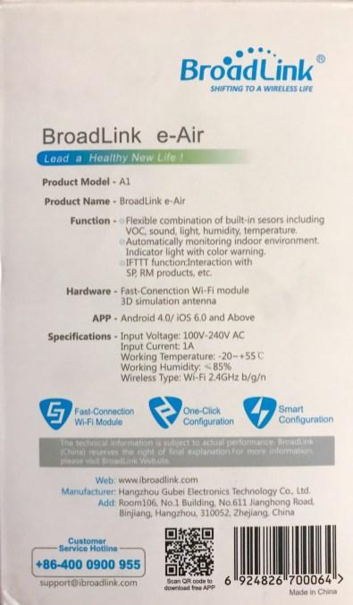 Broadlink A1 e-Air - Détail de l'emballage
