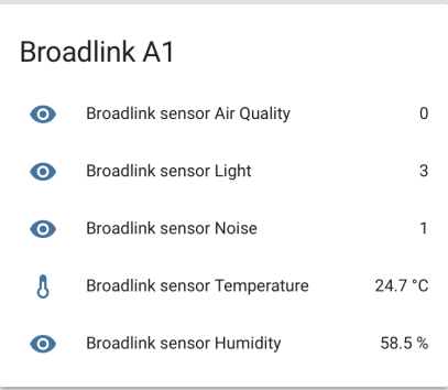 Broadlink A1 e-Air sur Home Assistant