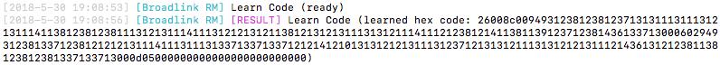 Broadlink RM captures HEX codes