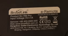 Rear label Broadlink RM2