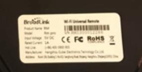 Etichetta posteriore Broadlink RM3