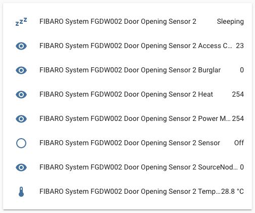FIBARO Door/Window Sensor 2 - Integrazione Home Assistant - Entità