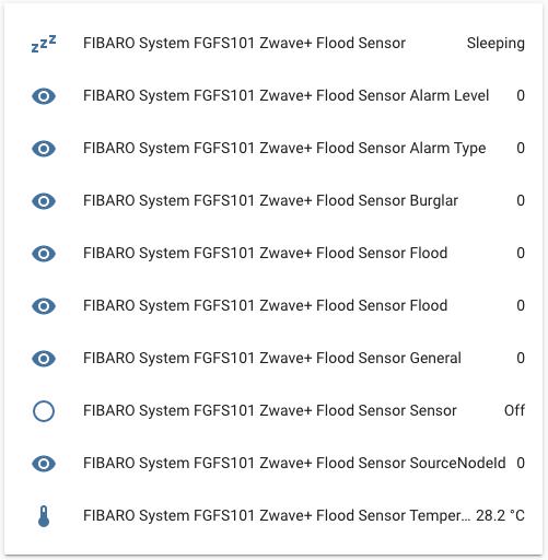 FIBARO Flood Sensor Z-Wave - Integrazione Home Assistant - Entità