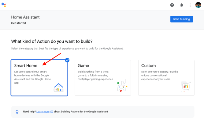 Google Actions - New project - Tipology