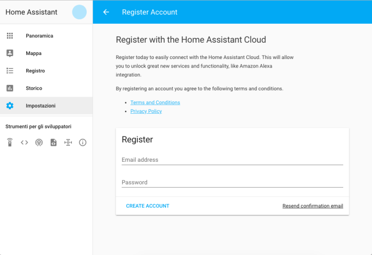 Home Assistant Cloud - Register