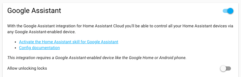 Home Assistant - Integrazione Google Home Assistant con Nabu Casa