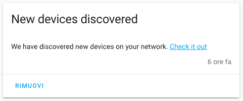 Home Assistant - Notifica discovery