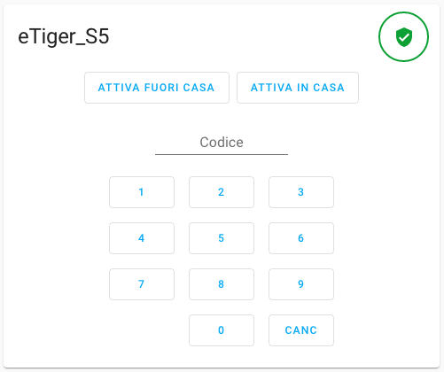Home Assistant - eTiger S5 - Alarm Control Panel