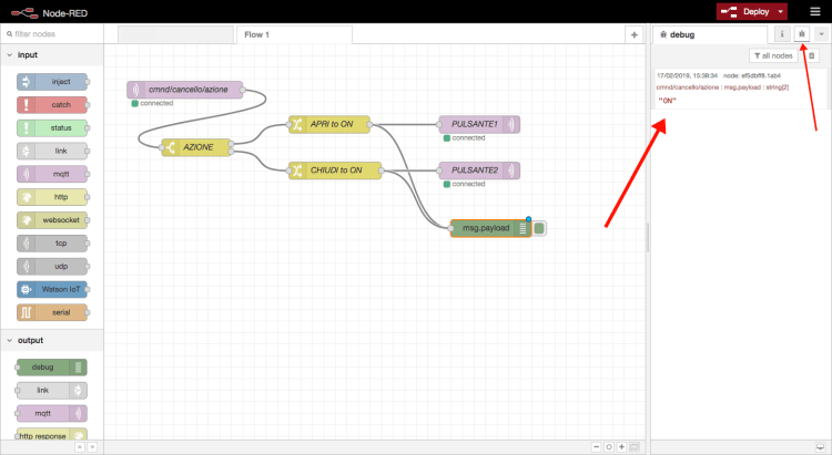 Node-RED - Home automation flow> devices - debug log