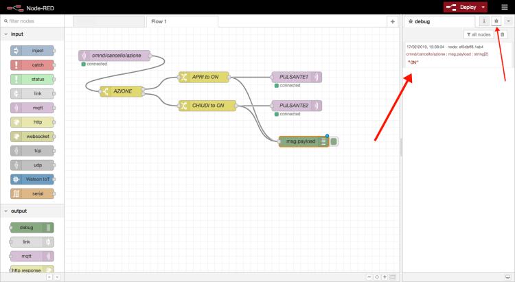Node-RED - Flusso domotica>dispositivi - debug log