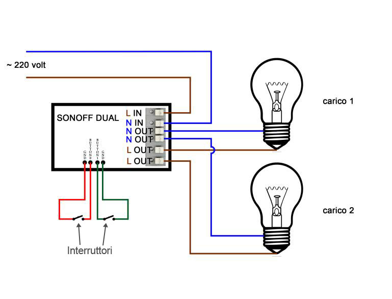 Scheme Sonoff Dual -loads - with switches