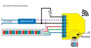 Shelly RGBW2 - schema di connessione - DC RGB LED strip
