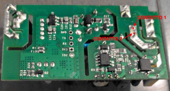 Sonoff Basic RF R2 POWER V1.0 - Retro - Contatti da dissaldare per contatto pulito