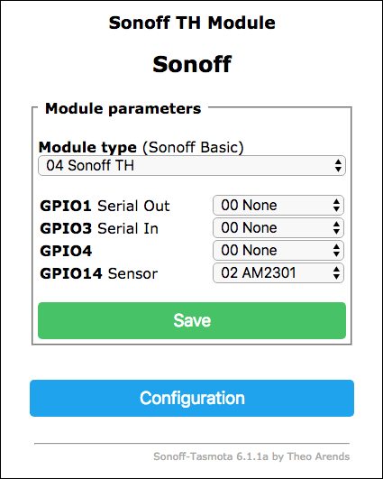 Sonoff-Tasmota Module Configuration - Sensor-AM2301