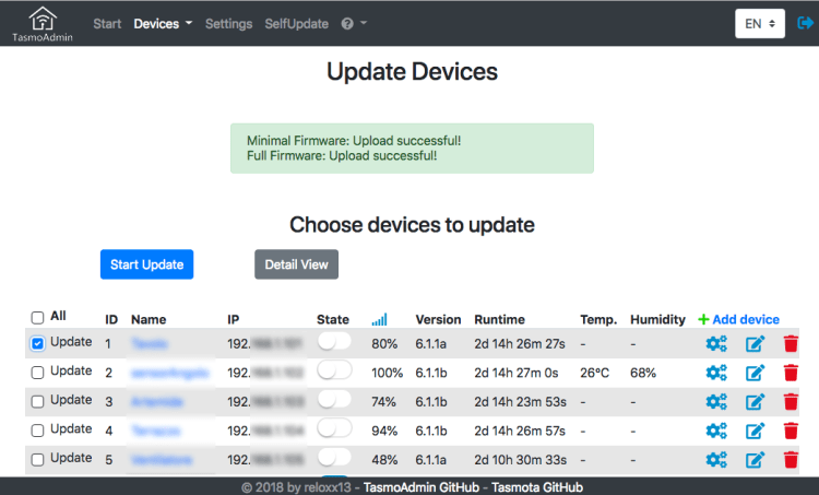 TasmoAdmin Firmware Update Components list