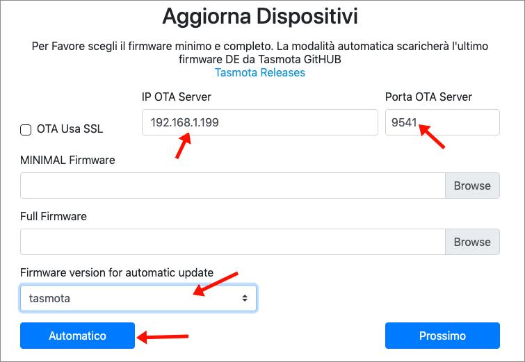 TasmoAdmin - aggiornamento massivo OTA Url - step 1
