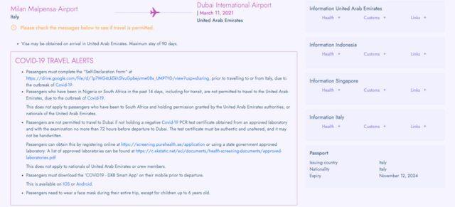 Schermata di ricerca di TravelDoc