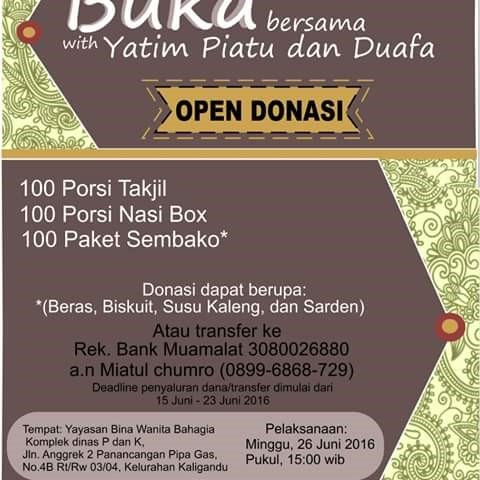Open Donasi Banten Food Bank buka puasa bersama Yatim Piatu dan Duafa