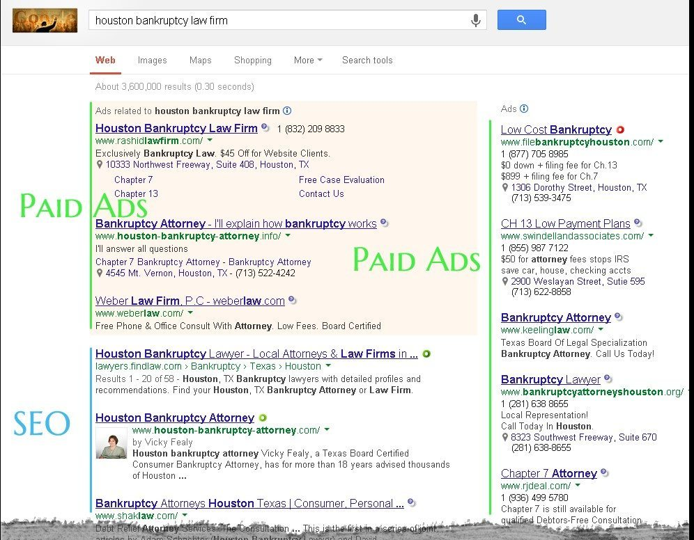 Get to the front page of Google with law firm seo tactics, PPC, internet marketing, search engine optimization, google search results