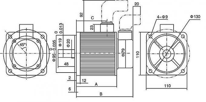 Motor servo ac dan driver 110mm AC Servo Motor 220V 1.2KW