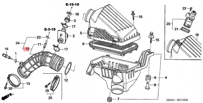 2003-2007 Honda Accord Rubber Air Intake Hose Air Flow