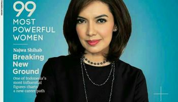 "Najwa Shihab of MetroTV's Mata Najwa Globe Asia Cover ""99 Most Powerful Women"""