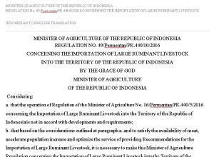 Indonesian Cattle Importation Reglation No 46 2016 English Translation