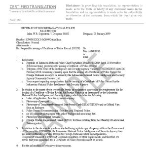 Indonesian Translation Service Letter Declining Request for Certificate of Police Record