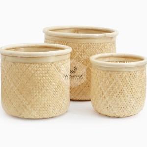 Fresia Round Bamboo Basket Set of 3