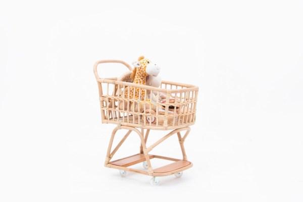Vanessa Rattan Doll Shopping Trolley
