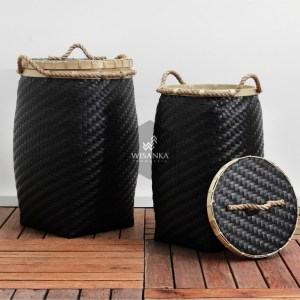 Round Belly Black Rattan Basket