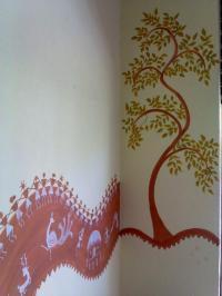 warli art wall mural work | Indoor Greens